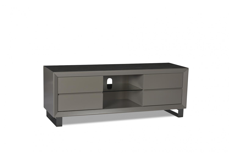 Image of   Madrid TV-bord - grå/sort keramik/træ, m. 4 skuffer og glashylde