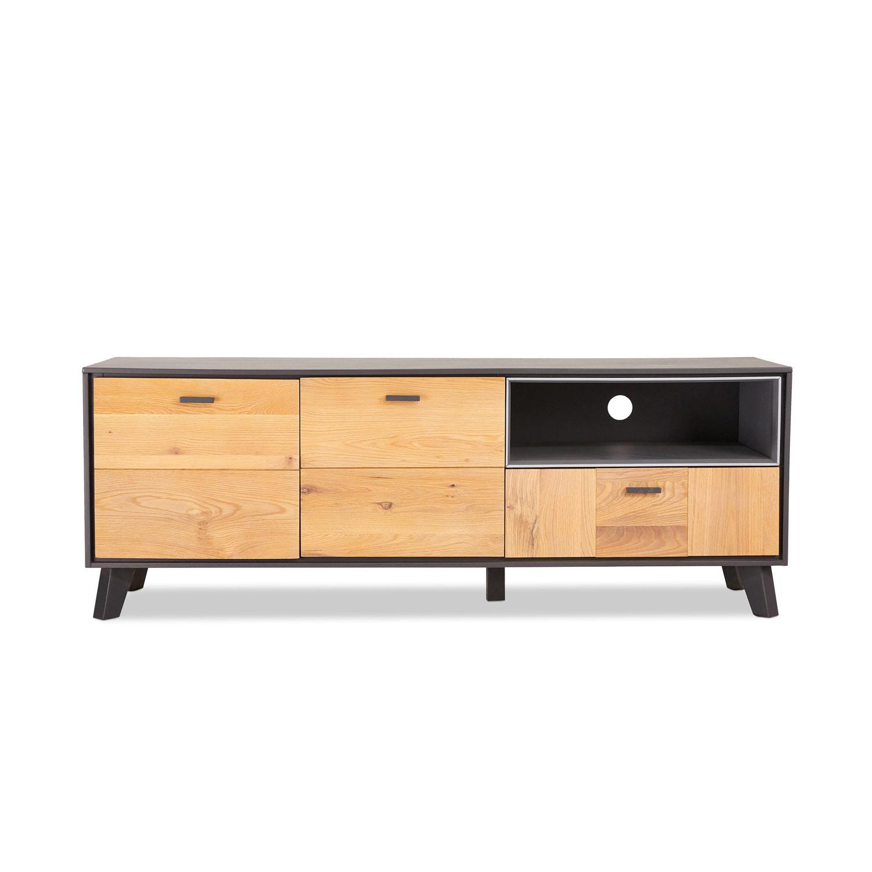 Sentosa TV-bord, m. 2 låger og 1 skuffe - natur og egetræ (155x47)