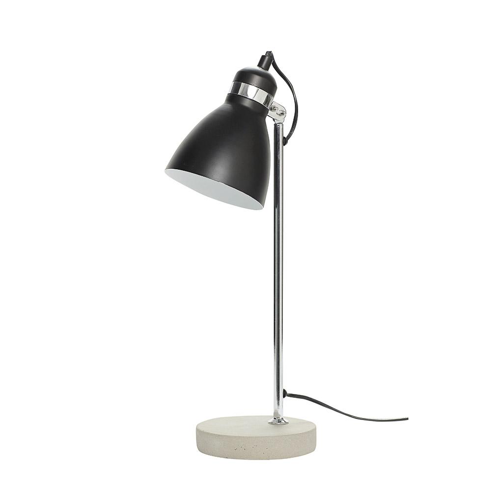 Billede af HÜBSCH Bordlampe i metal/beton, sølv/sort