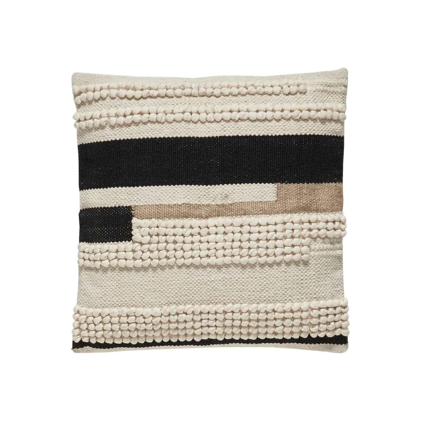 HÜBSCH pude m. mønster - hvid/sort/brun bomuld (45x45) thumbnail
