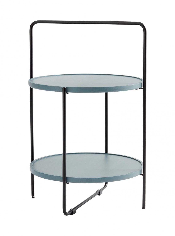 ANDERSEN bakkebord - grå/petroleumsfarvet træ, rund, (68x46cm)