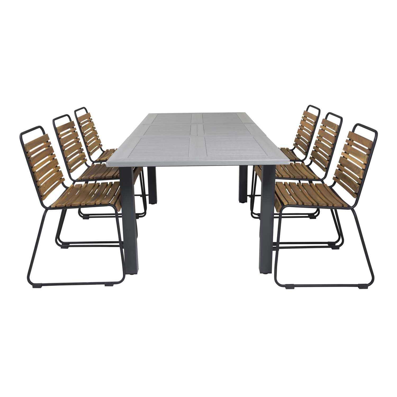 VENTURE DESIGN rektangulær Albany havebord m. butterflybordplade - grå, sort aluminium (152/210x90)