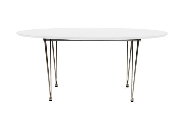 Billede af Belina spisebord - Hvid træ, metalstel, ovalt, incl. 2 tillægsplader, (170x100)