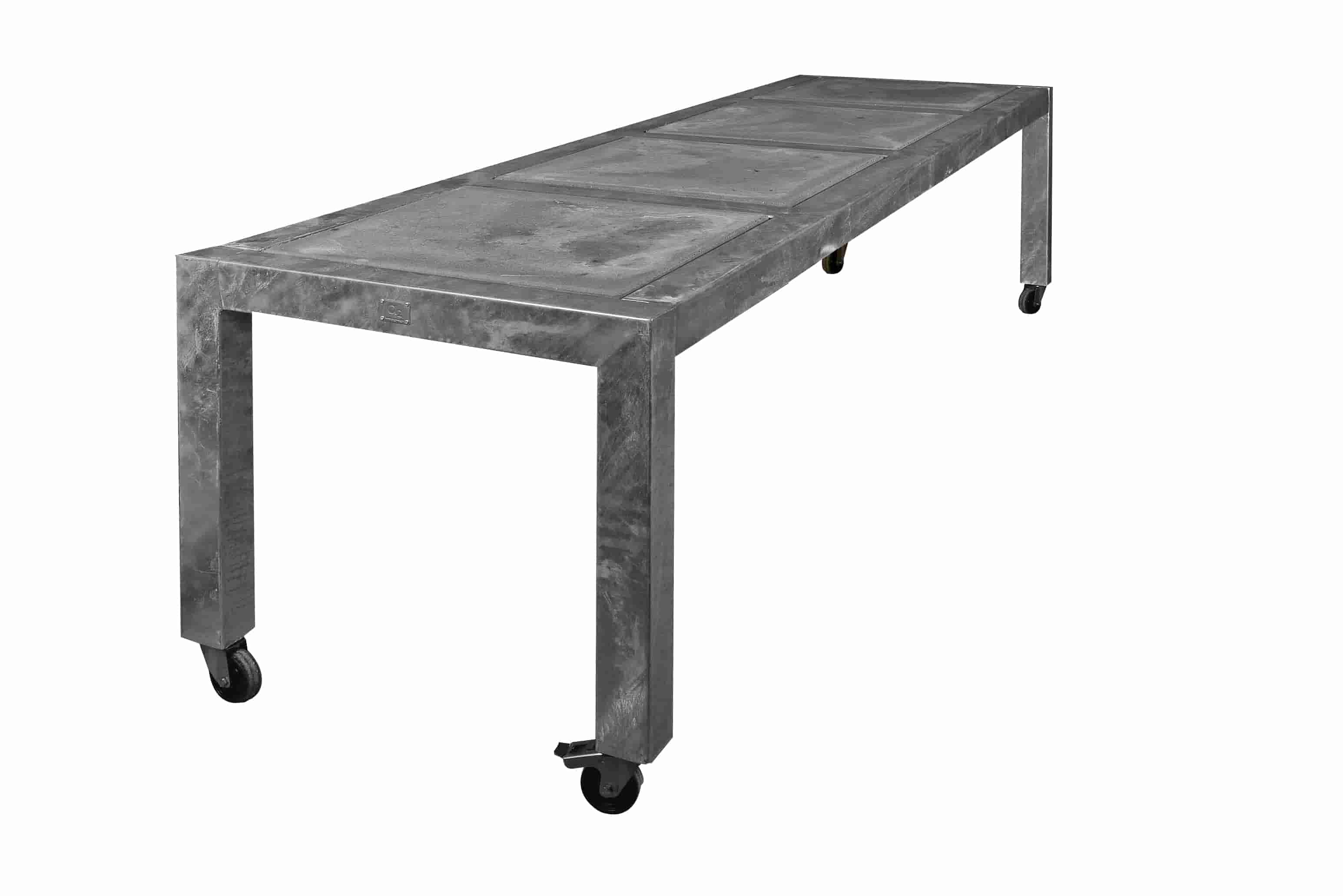 Image of A2 LIVING Longtable havebord - galvaniserede, med hjul (284x77)
