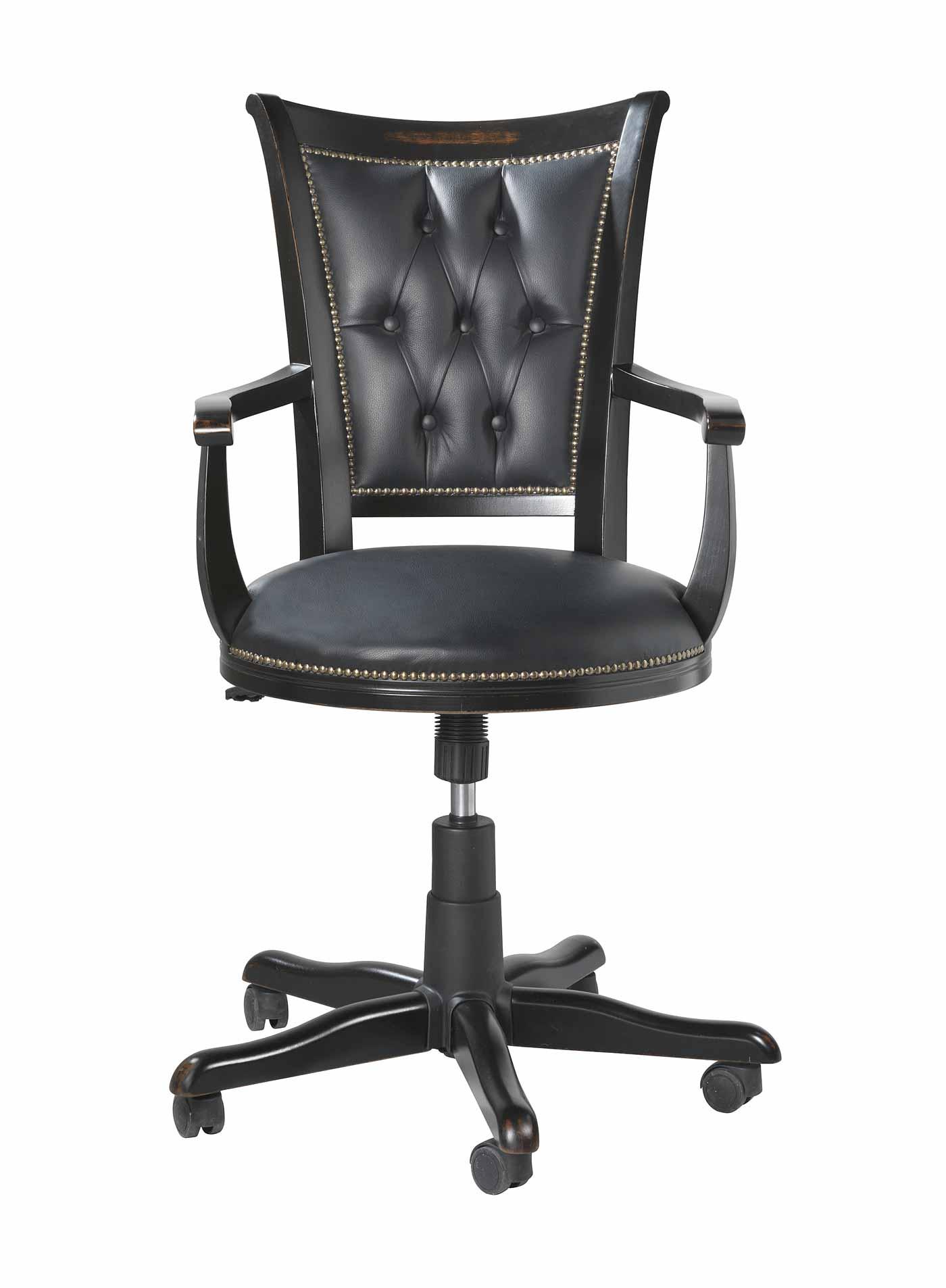 Image of   Skipper skrivebordsstol - Sortlakeret træ, sort læder, m. hæve/sænke funktion