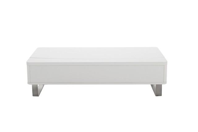 Perry sofabord i hvid højglans. Billig sofabord hæve og sænke
