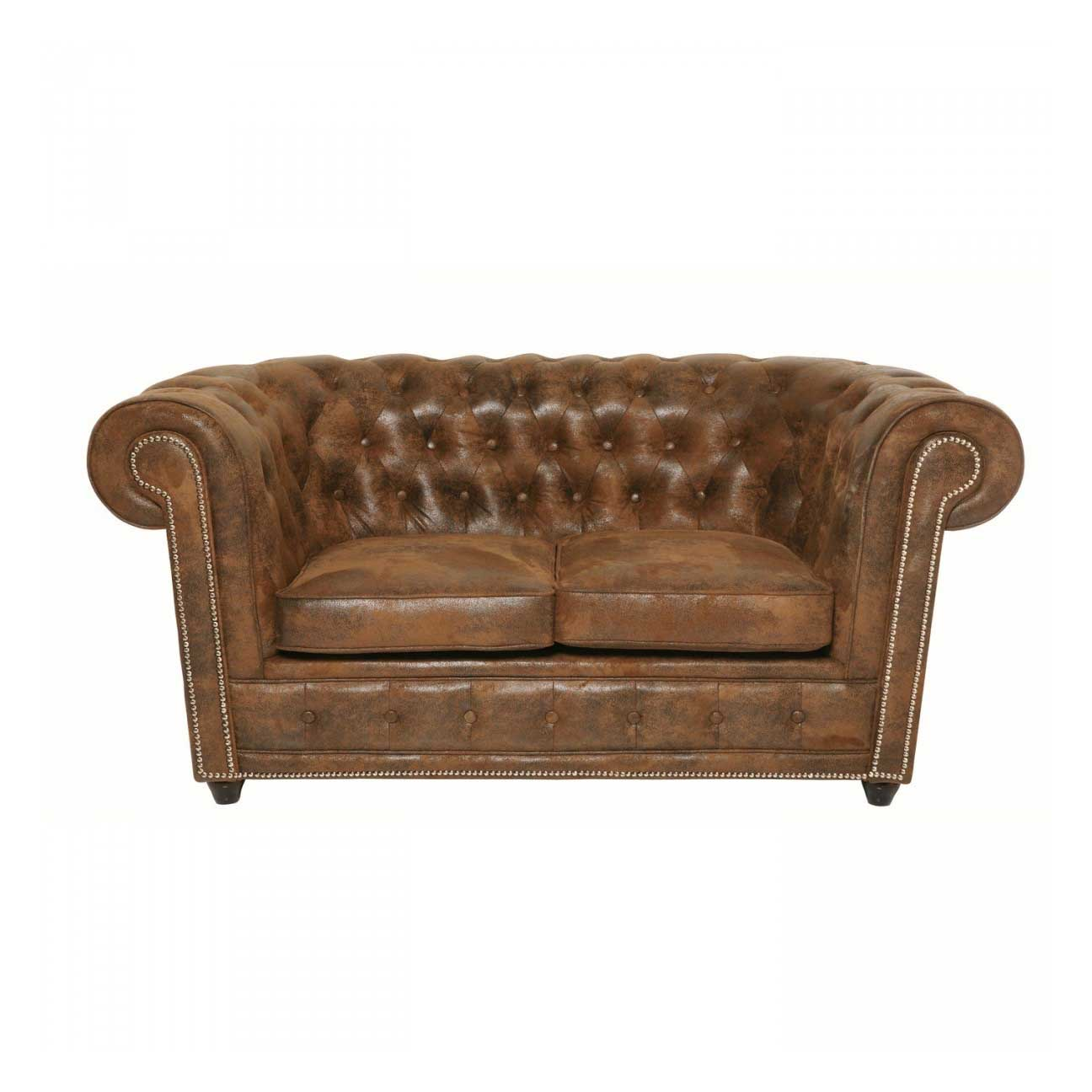 kare design Kare design 2 pers. cambridge vintage smart sofa - brun stof og fyrretræ på boboonline.dk