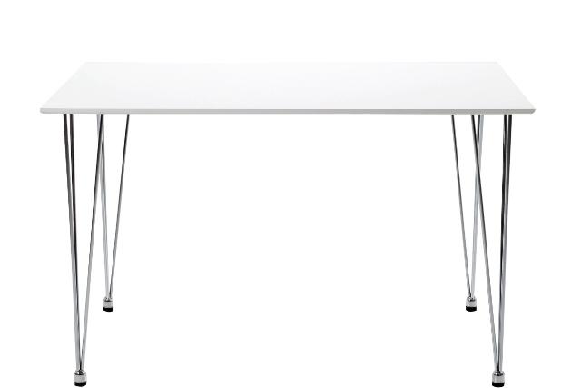 Lene spisebord - Hvidt træ, metalstel