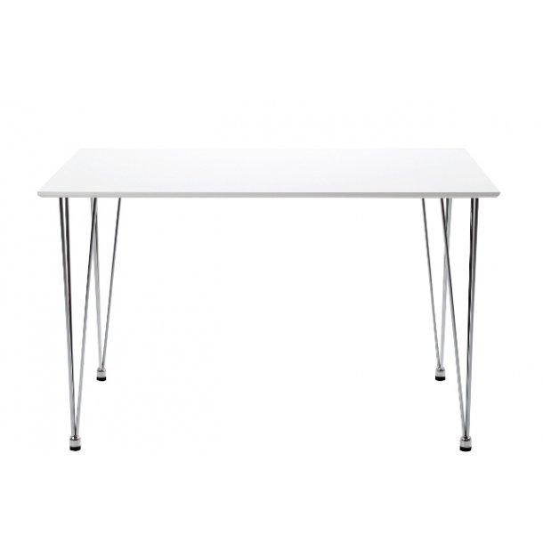 Hvidt spisebord - Lene spisebord i hvid med krom metalben.