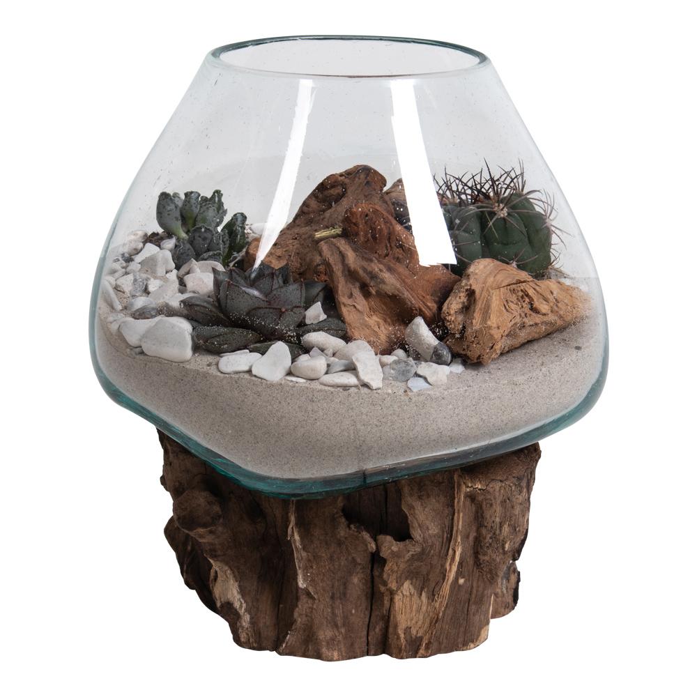 Billede af HOUSE NORDIC San Marino Vanddråbe skulptur - glas/natur træ (H:20)