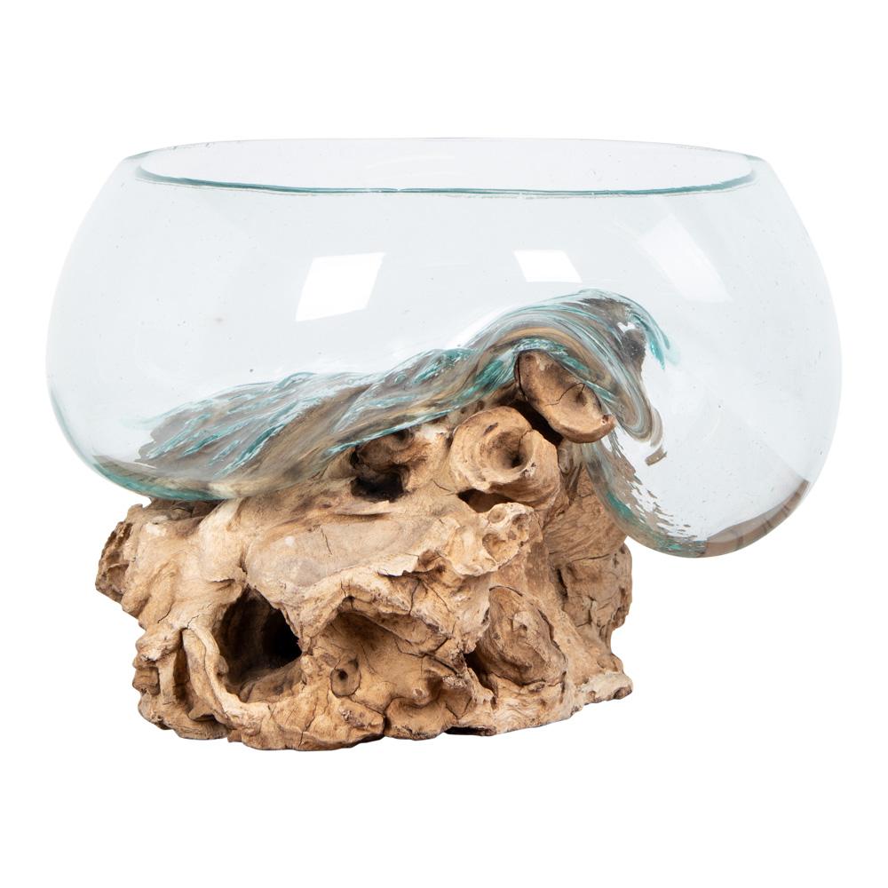 Billede af HOUSE NORDIC San Marino Vanddråbe skulptur - glas og natur teaktræ (H:20)