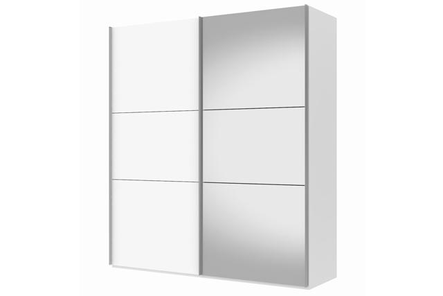 Billede af Save skydedørsskab 200 cm - hvid højglans / spejl 3 rum