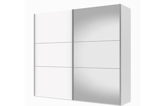 Billede af Save skydedørsskab 250 cm - hvid højglans / spejl
