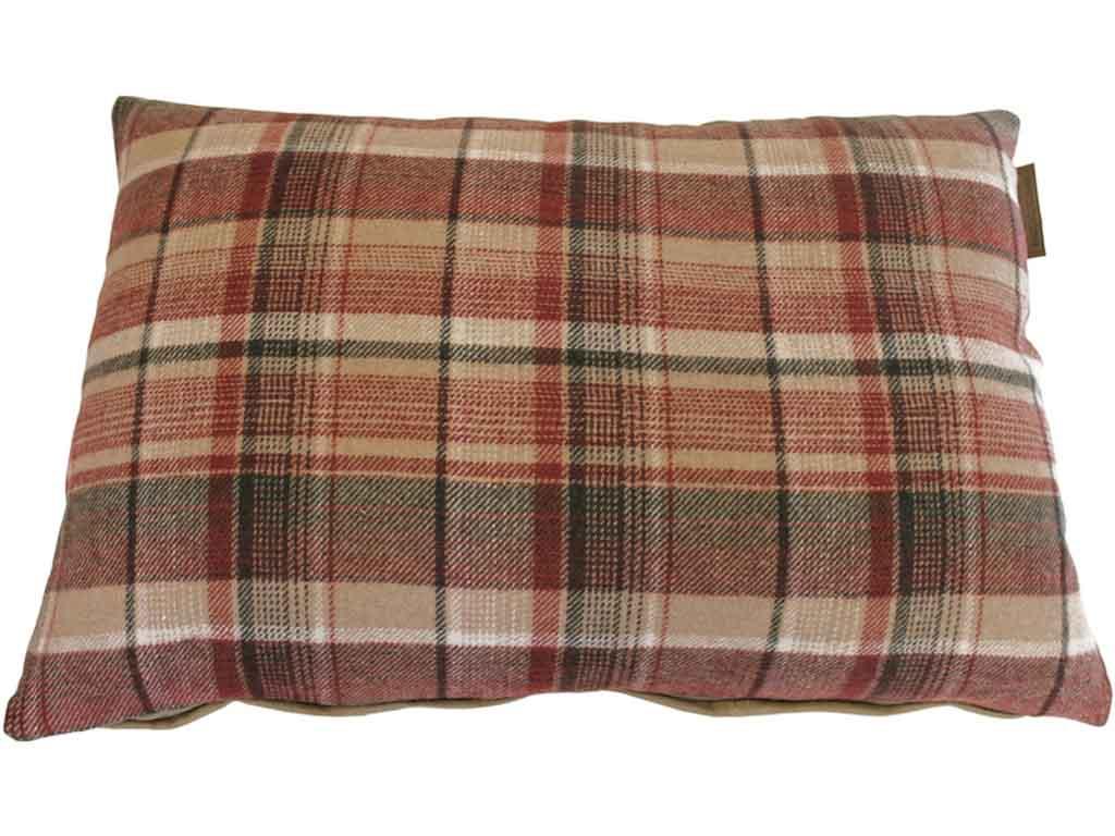 Canett cosy pude - beige/grøn, stof/læder, ternet fra canett fra boboonline.dk