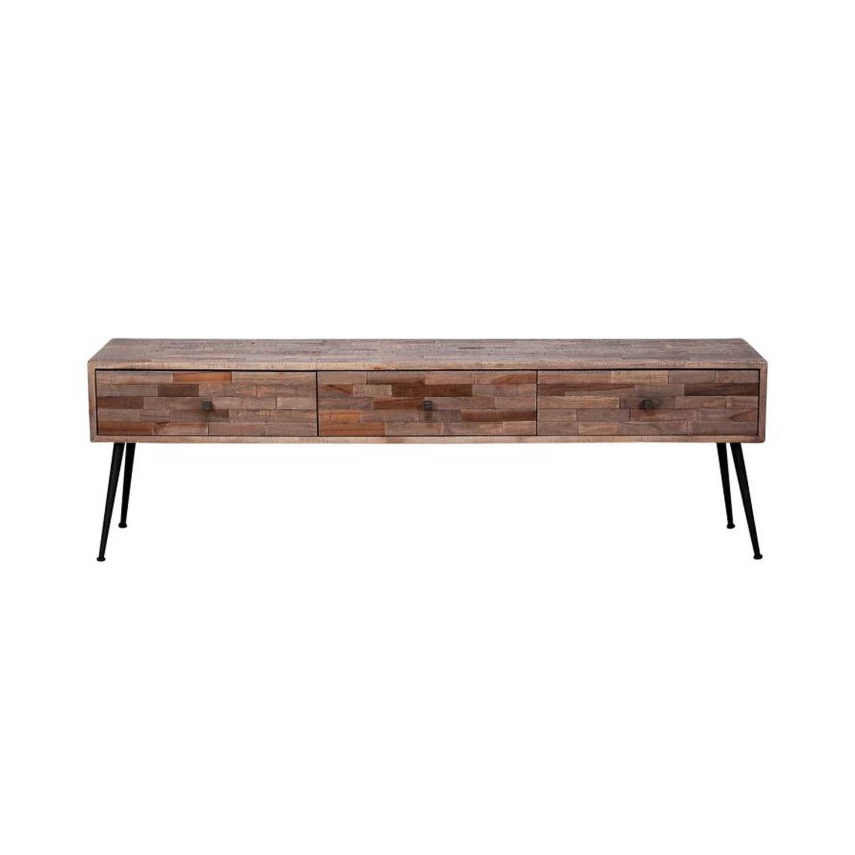 FURBO rektangulær TV-bord, m. 3 skuffer - gråtonet teaktræ og sort stål (150x30)
