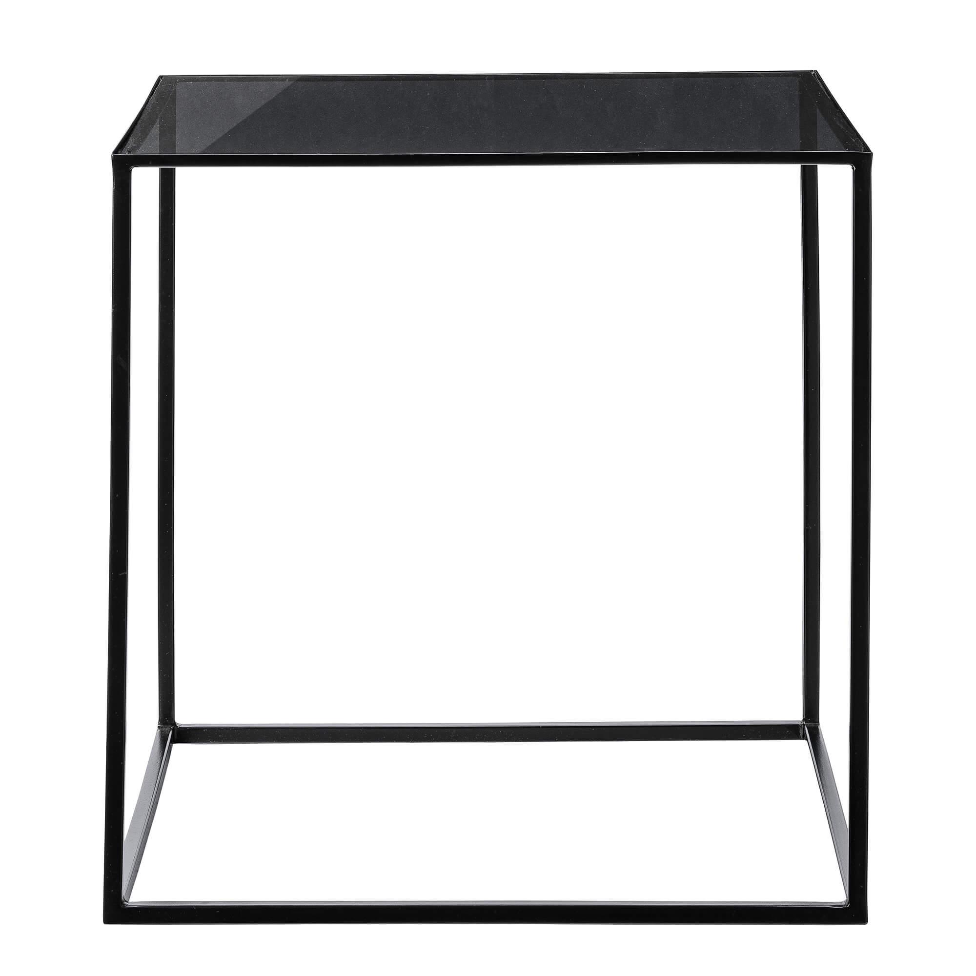 bloomingville – Bloomingville cube sofabord - sort glas/jern, kvadratisk (50x50) på boboonline.dk