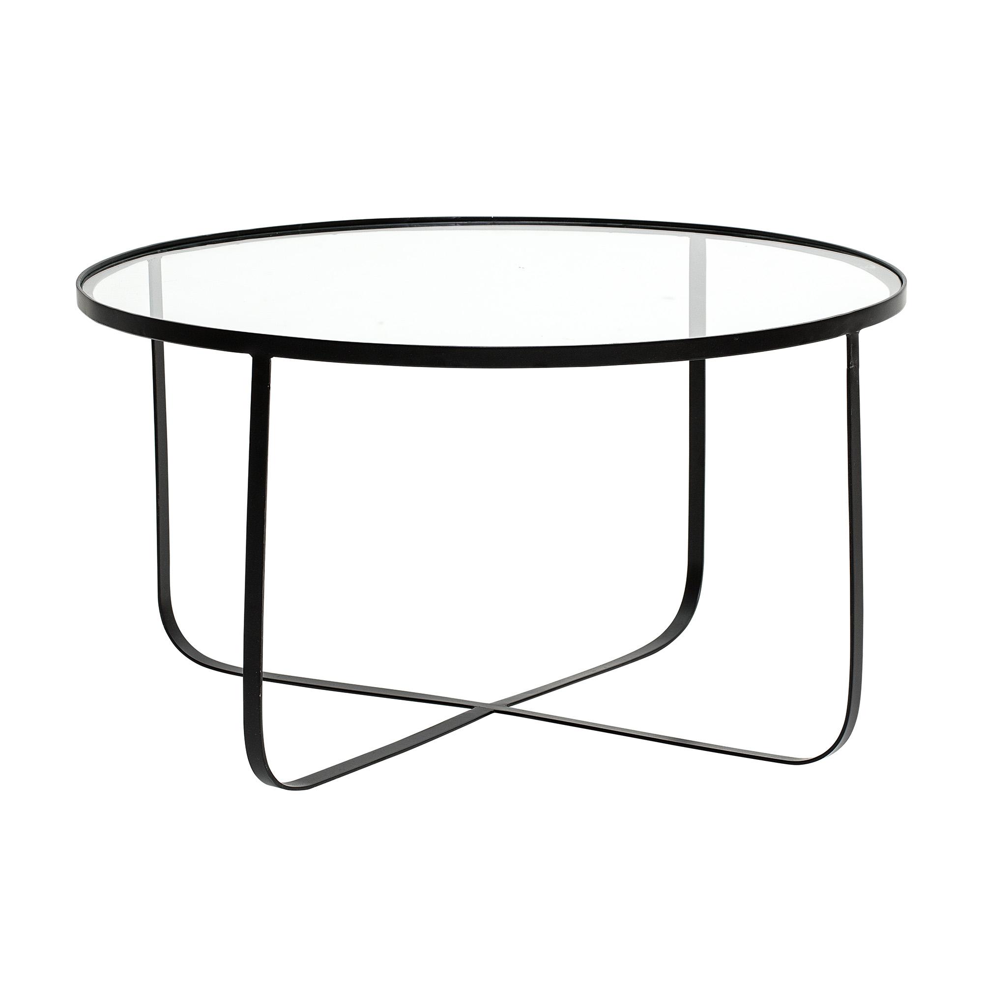 bloomingville – Bloomingville harper sofabord - klar glas/sort jern, rund (ø80) fra boboonline.dk