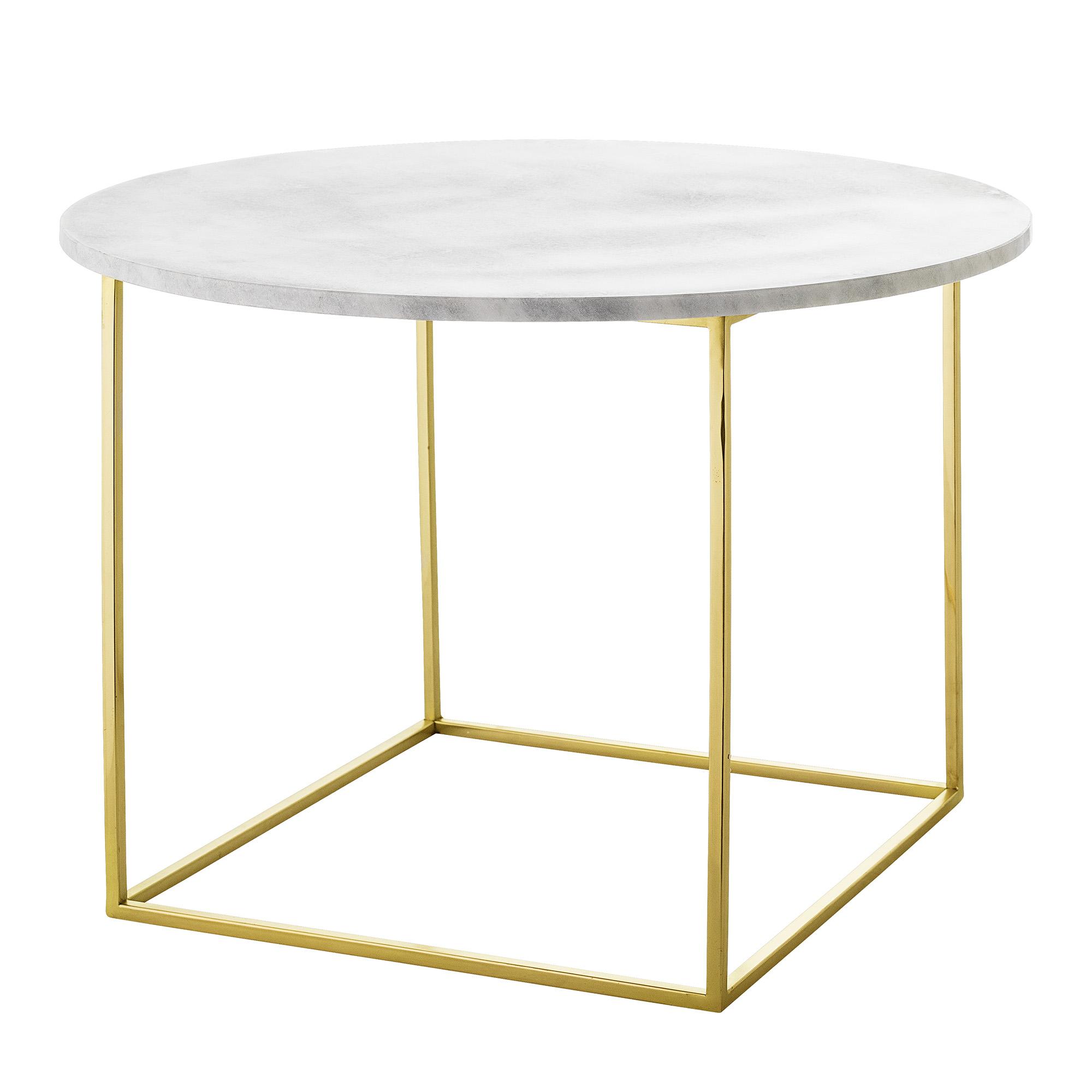 BLOOMINGVILLE Eva sofabord - hvid marmor/guld stål, rund (Ø60)