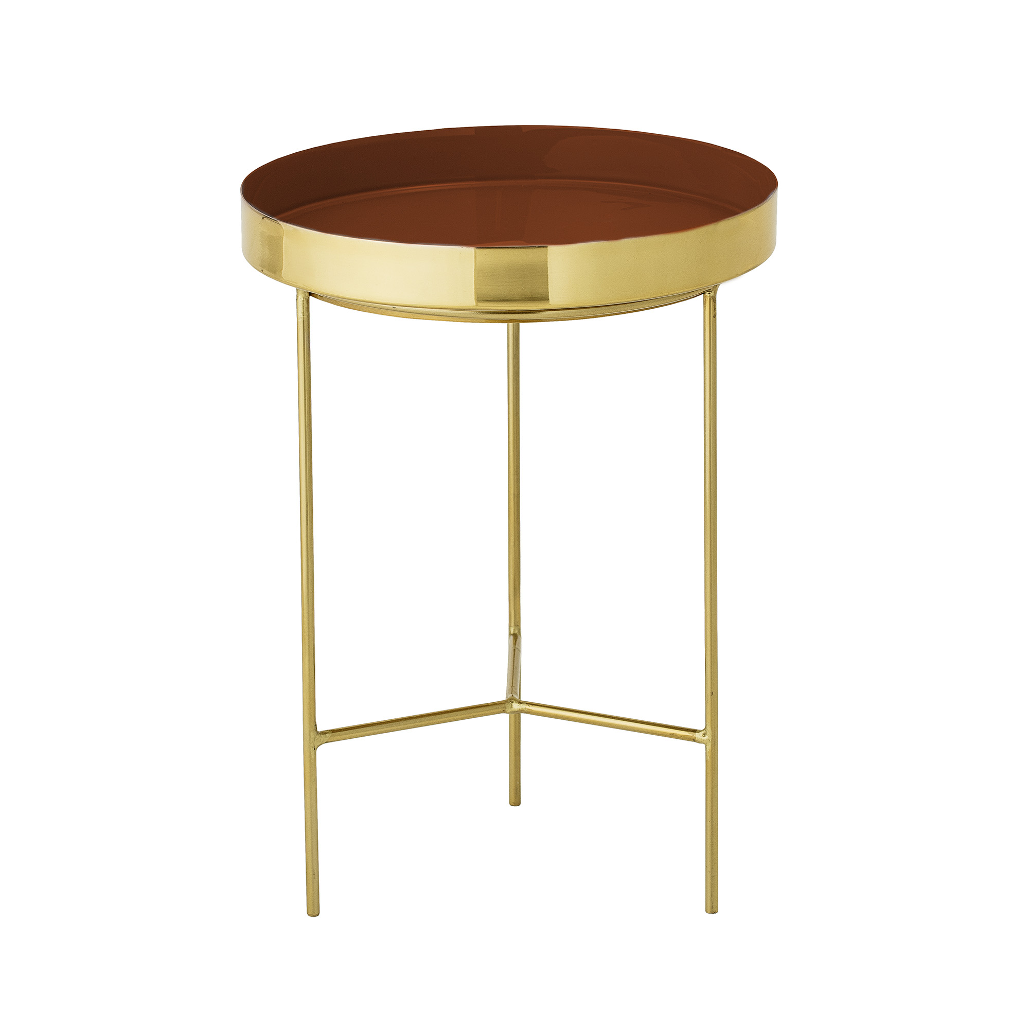 bloomingville – Bloomingville sola bakkebord - rød/guld aluminium/stål, rund (ø30) fra boboonline.dk