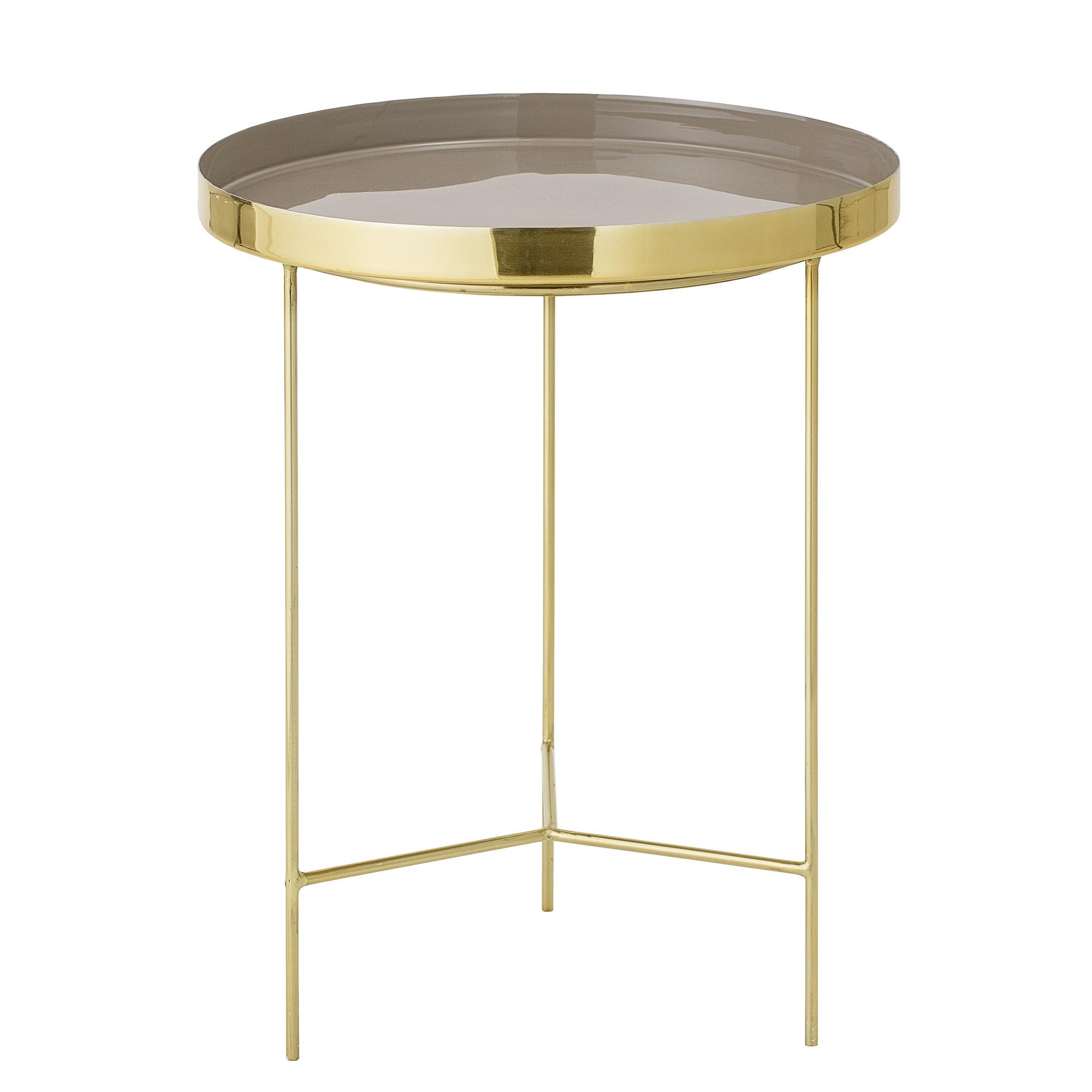 BLOOMINGVILLE Sola bakkebord - brun/guld aluminium/stål, rund (Ø40)