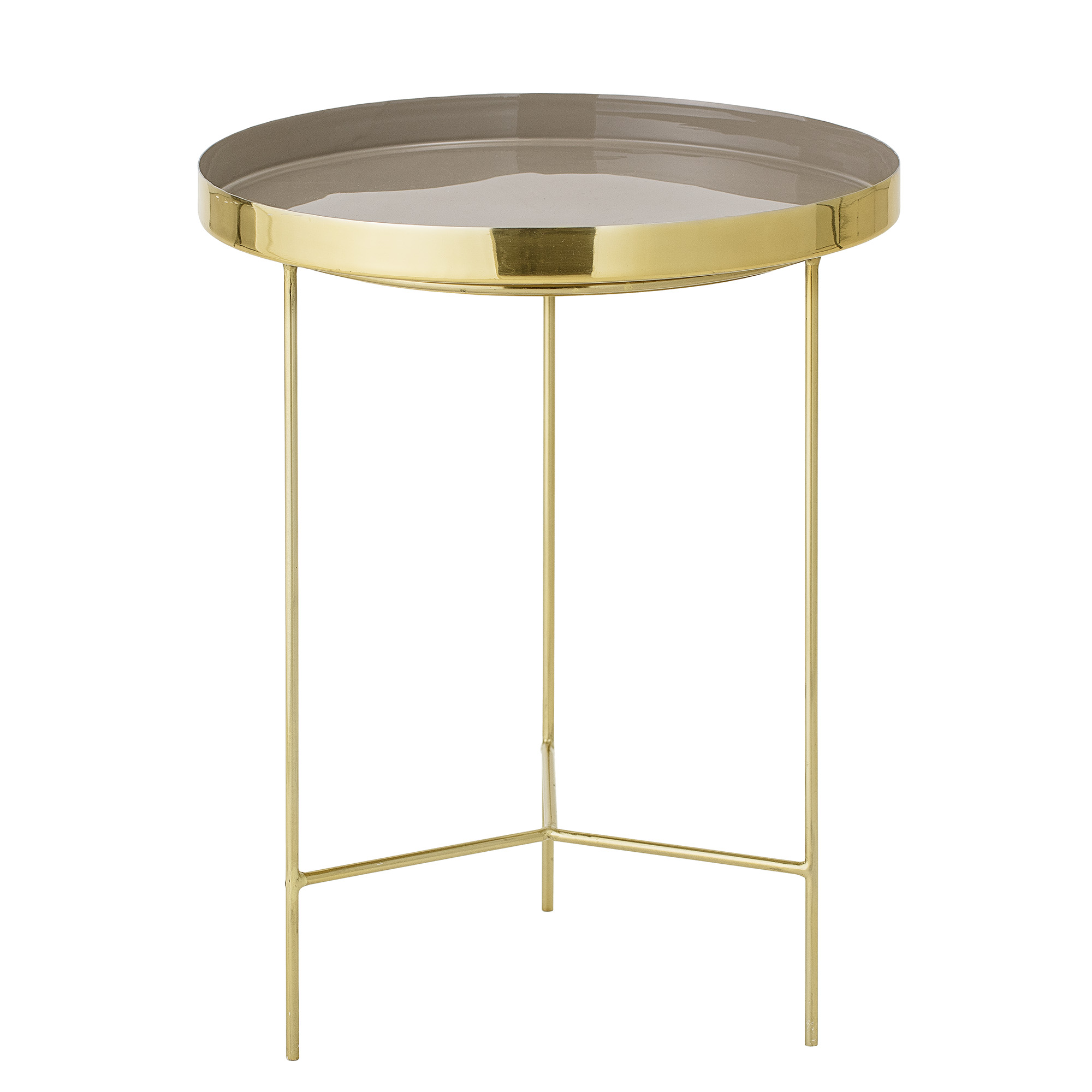 Bloomingville sola bakkebord - brun/guld aluminium/stål, rund (ø40) fra bloomingville fra boboonline.dk