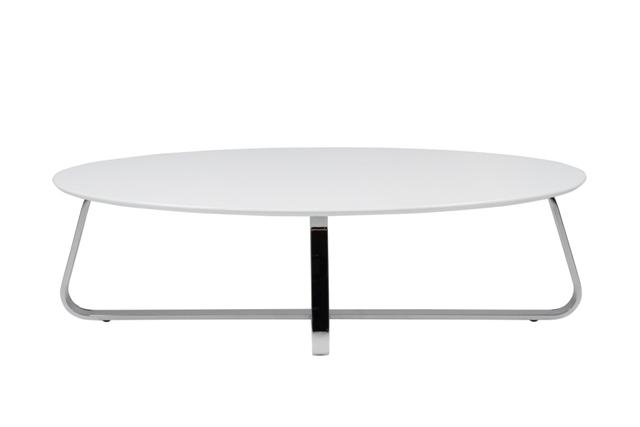 Konzit sofabord - hvid træ, metalstel, ovalt