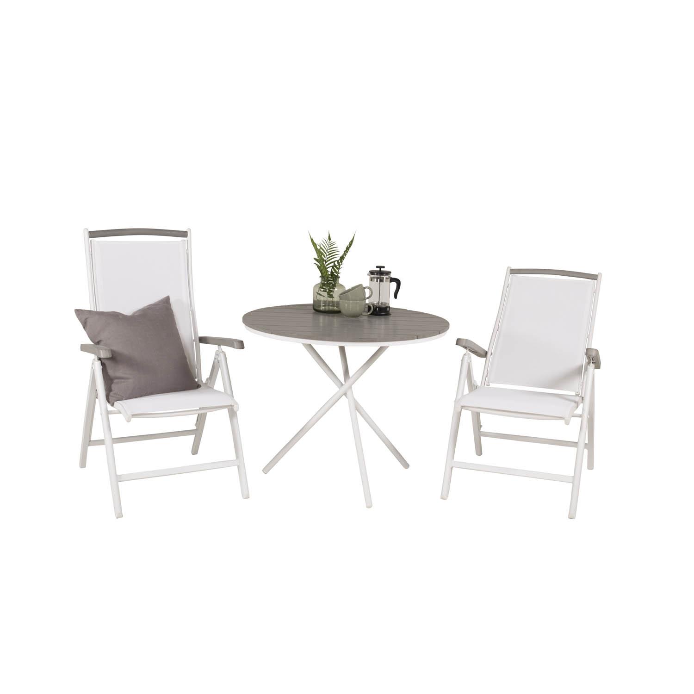 Venture Design Havesæt, M. Parma Bord (Ø 90) Og 2 Albany Stole, M. Armlæn - Hvid Alu/Hvid Textilene Havemøbler