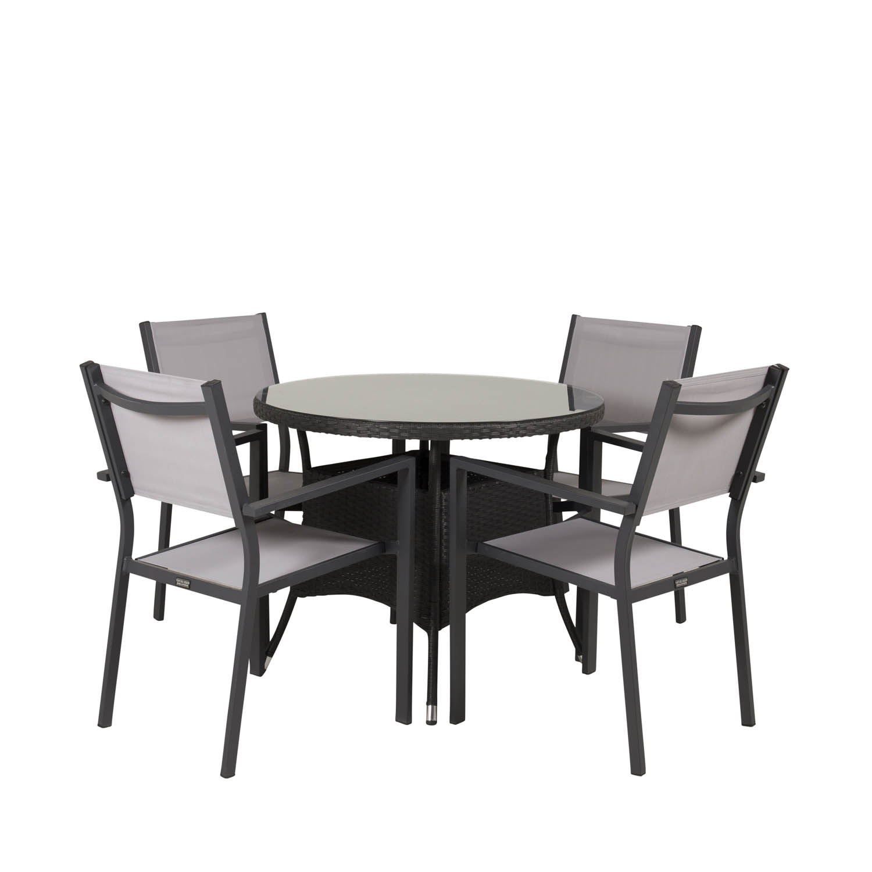 Venture Design Venture Design Havesæt M. Volta Bord (Ø 90) + 4 Copacabana Stole M. Armlæn - Sort Rattan/Grå Textile Havemøbler