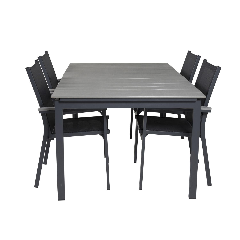 Venture Design Havesæt M Levels Bord M. Udtræk Og 4 Parma Stole M. Armlæn - Grå Aintwood/Sort Textil