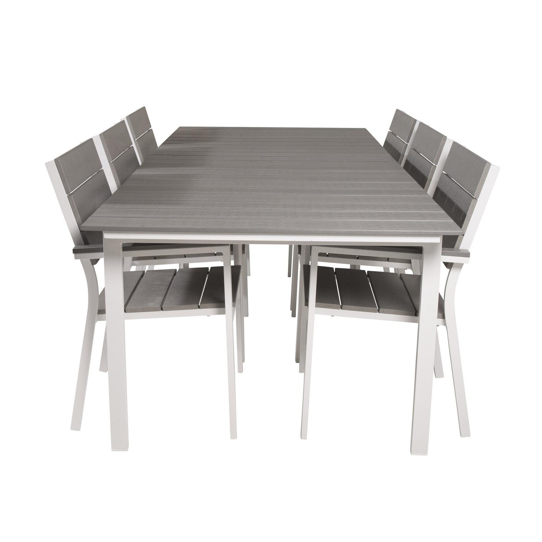 Venture Design Havesæt, M. Levels Bord, M. Udtræk Og 6 Levels Stole, M. Armlæn - Aintwood/Alu Havemøbler