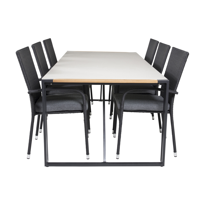 Venture Design Venture Design Havesæt, M. Texas Bord (200X100) Og 6 Anna Stole, M. Armlæn - Teak/Alu/Rattan Havemøbler