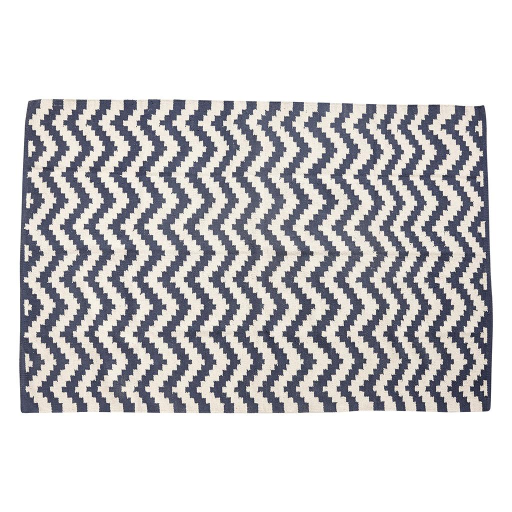 Billede af Hübsch Vævet tæppe i bomuld, blå/natur
