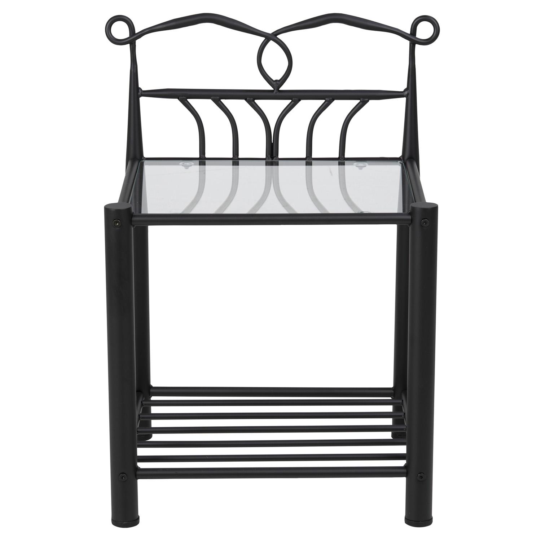 Line natbord, m. hylde - klar glas og sort metal