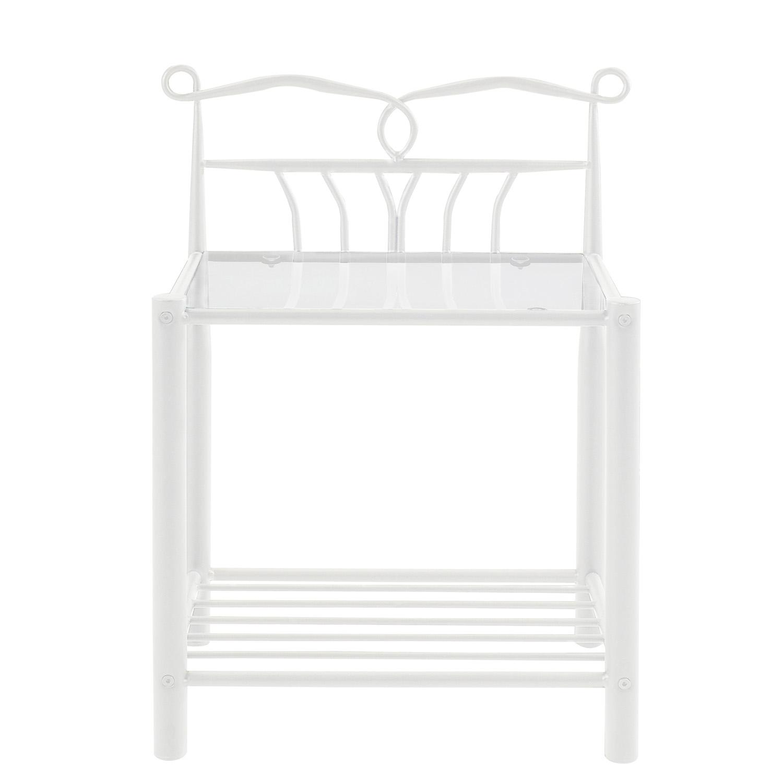 Billede af Act Nordic Line natbord, m. hylde - klar glas og hvid metal