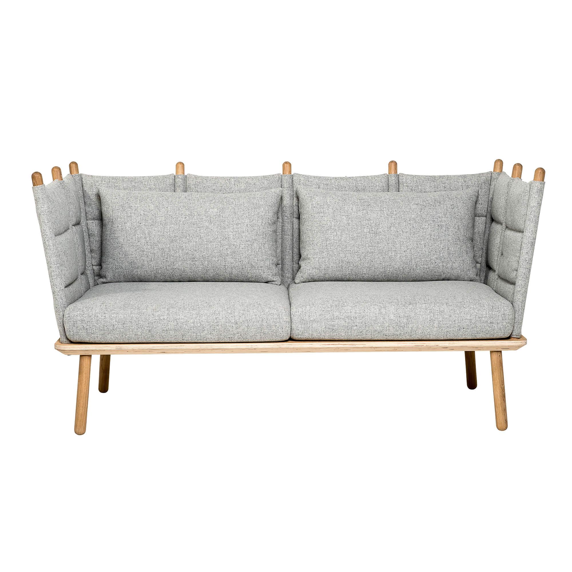 BLOOMINGVILLE Nora sofa - lysegrå uld/hvidolieret egetræ