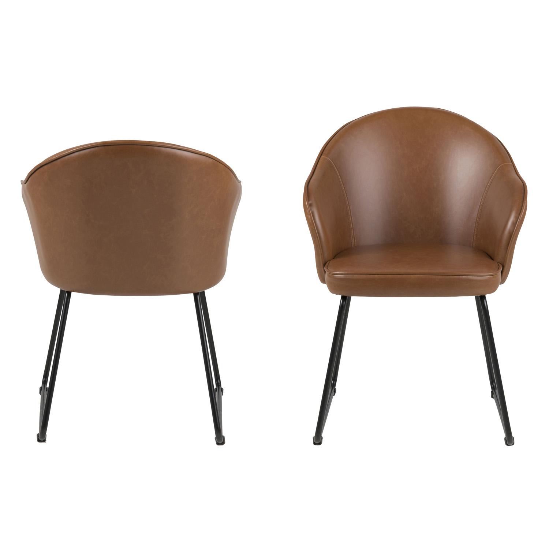 Mitzie spisebordsstol, m. armlæn - cognac PU og sort metal
