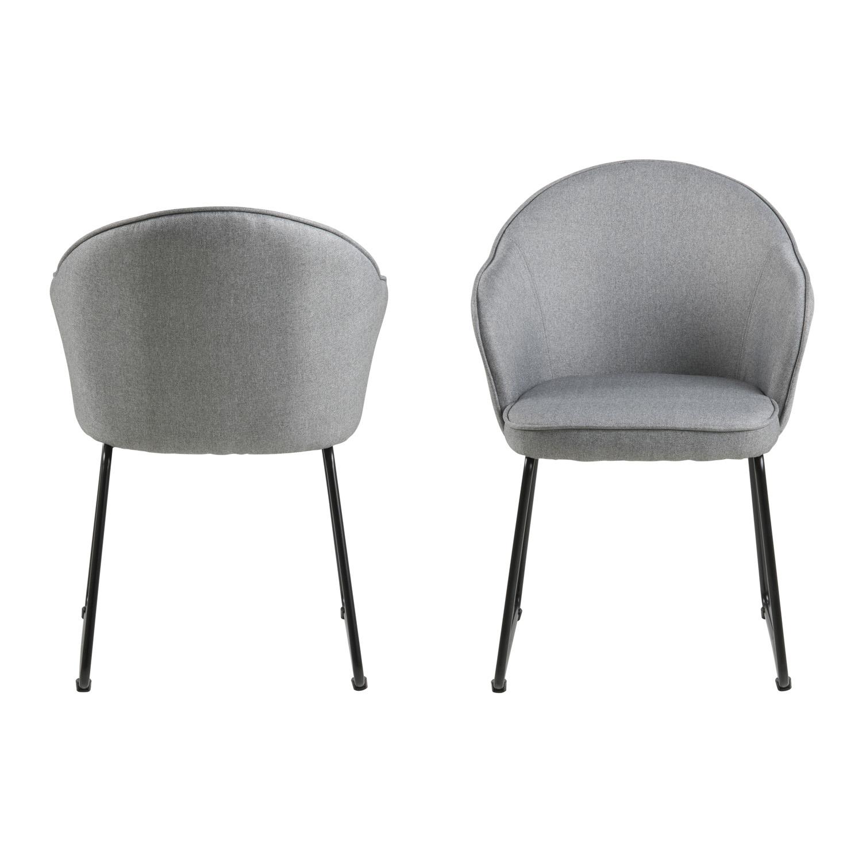 ACT NORDIC Mitzie spisebordsstol, m. armlæn - lysegrå polyester og sort metal