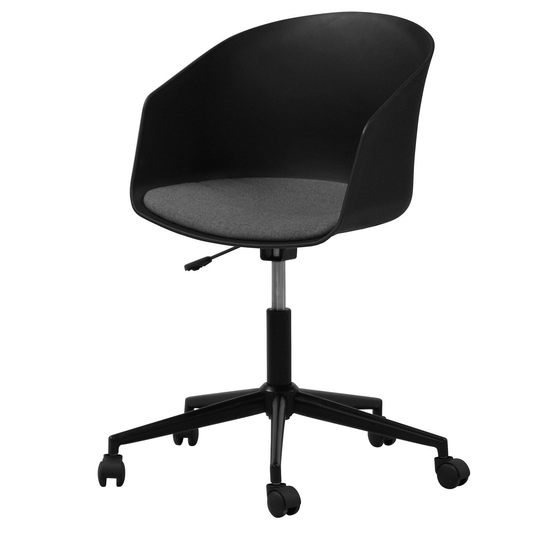 Billede af Act Nordic MOON kontorstol, m. armlæn og hjul - grå polyester samt sort plastik og stål