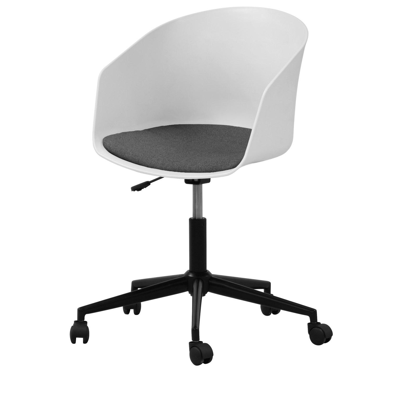 Billede af Act Nordic MOON kontorstol, m. armlæn og hjul - hvid plastik, grå polyester og sort stål