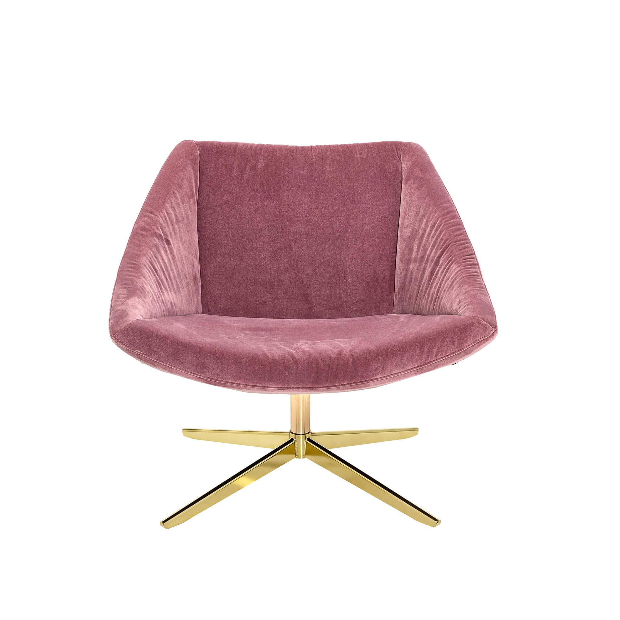 BLOOMINGVILLE Elegant drejestol – rosa/guld polyester/metal, m. armlæn