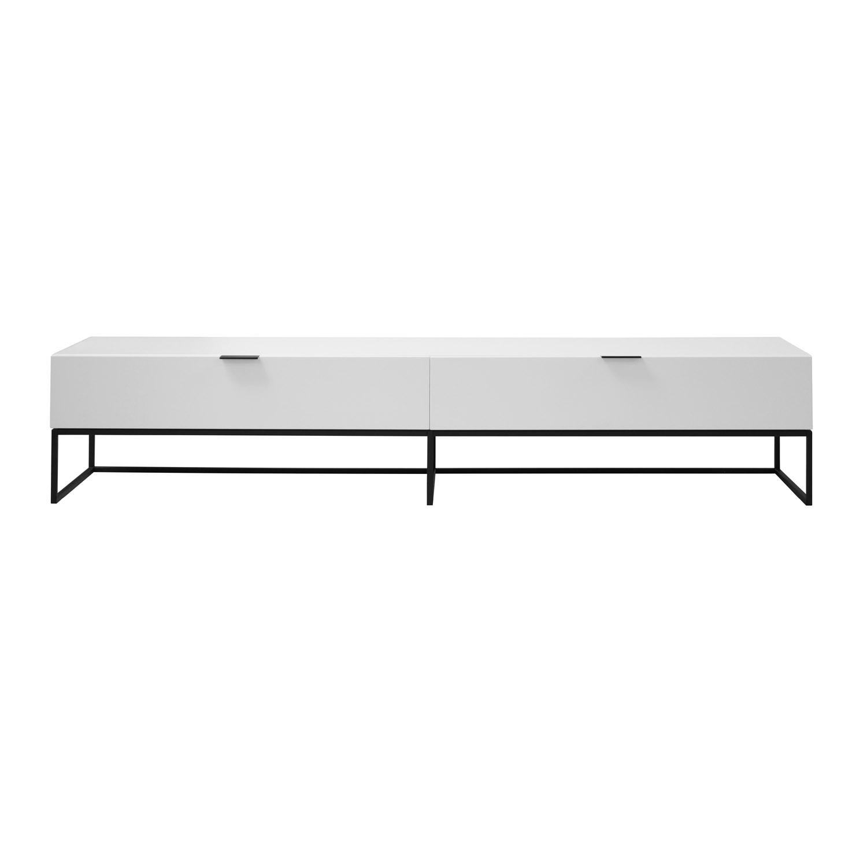 Kobe TV-bord, m. 1 låge og 1 skuffe - hvid MDF og sort metal (199,9x41,8)
