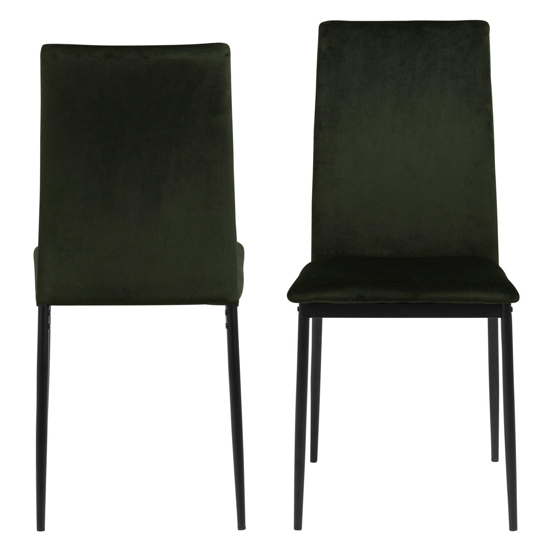 ACT NORDIC Demina spisebordsstol - olivengrøn polyester og sort metal