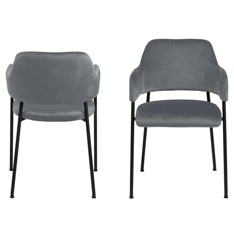 ACT NORDIC Lima spisebordsstol, m. armlæn - mørkegrå polyester og sort metal