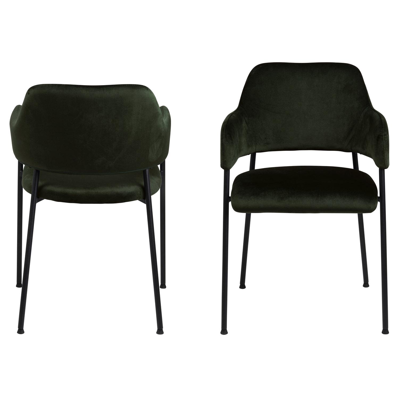 Lima spisebordsstol, m. armlæn - olivengrøn polyester og sort metal