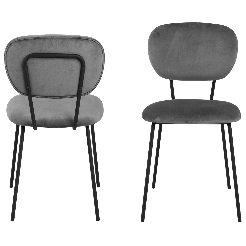ACT NORDIC Ariana spisebordsstol - mørkegrå polyester og sort stål