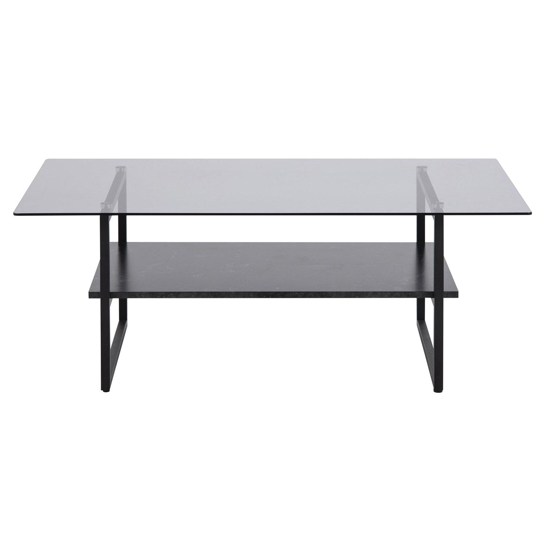 Okaya sofabord, m. 1 hylde - røgfarvet glas, sort melamin marmorprint og sort (110x 6)
