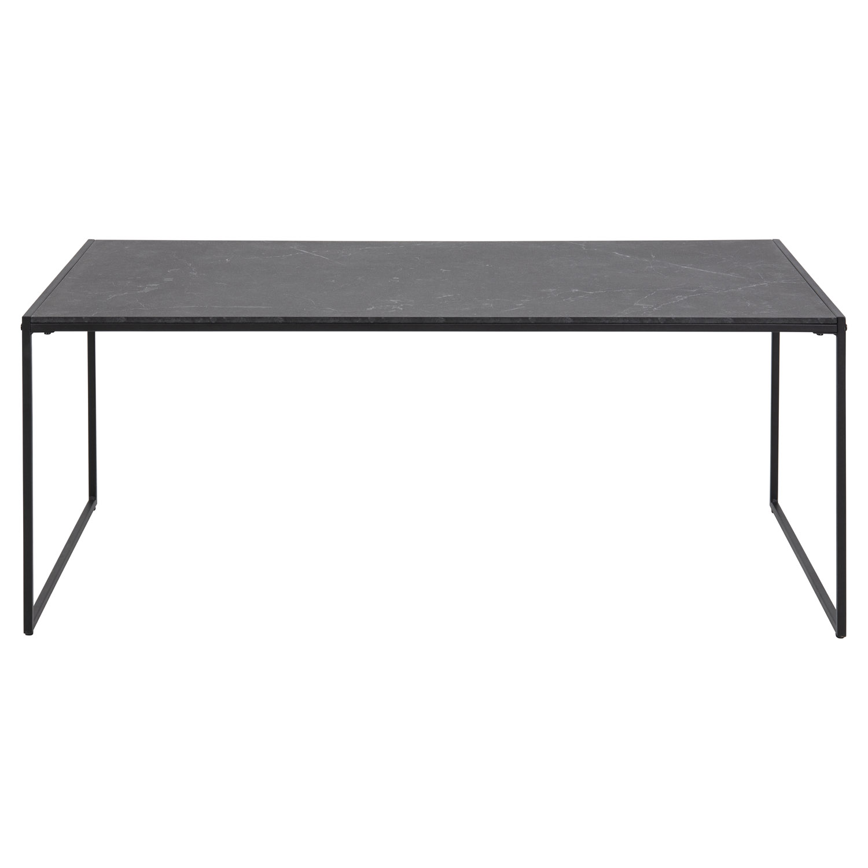 Infinity rektangulær sofabord - sort melamin m. marmorprint og sort metal (120x60)