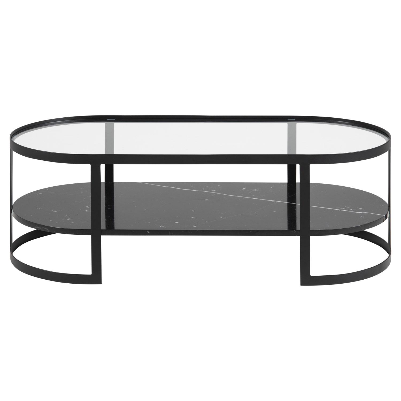Noville/Elki oval sofabord, m. hylde - klar glas, sort marmor og sort metal (121x56)