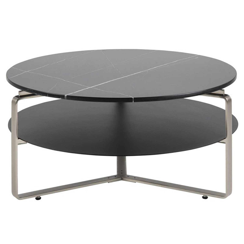Noville/Treeni rund sofabord, m. hylde - sort marmor, sort frostet glas og krom metal (Ø90)