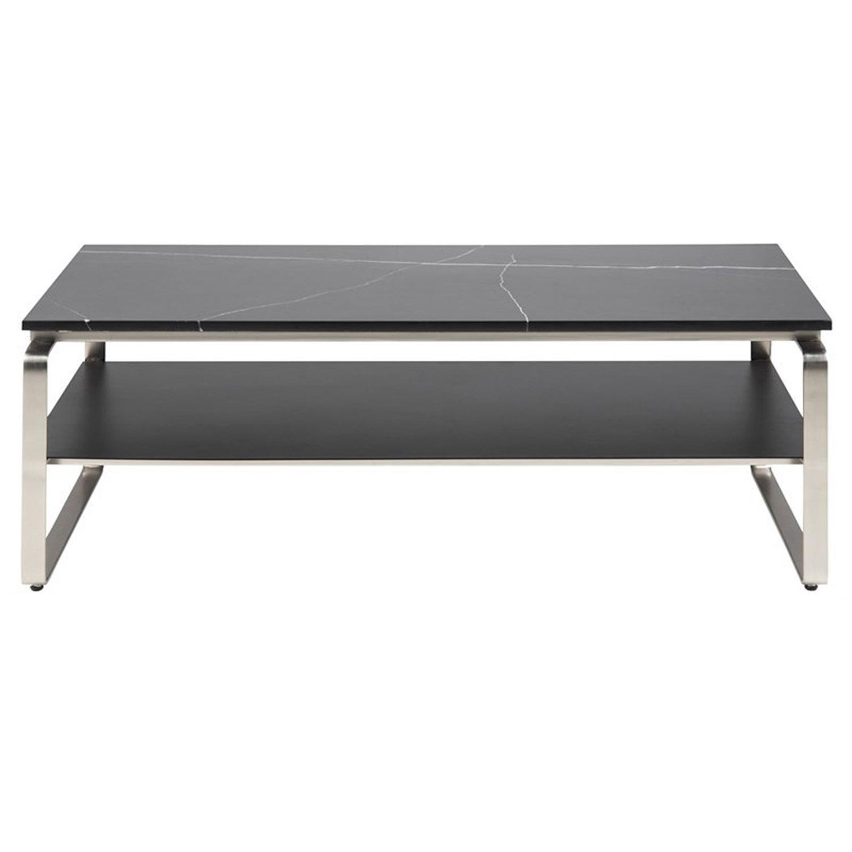 Noville/Treeni sofabord, m. hylde - sort marmor, sort frostet glas og krom metal (130x72)